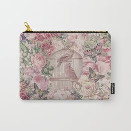 Romantic Flower Pattern And Birdcage Carry-All Pouch