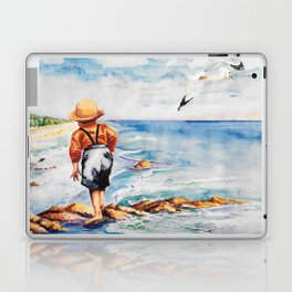 Watercolor Boy with Seagulls Laptop & iPad Skin