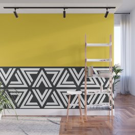 Black, White and Yellow Geo Wall Mural