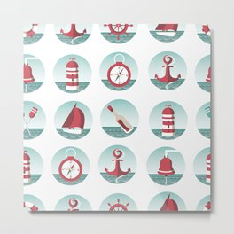 Nautical seamless pattern with sea elements Metal Print