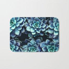 Blue And Green Succulent Plants Bath Mat