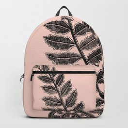 Black Lace Fern Blush Peach Backpack