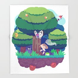 Tiny Worlds - Viridian Forest Throw Blanket