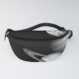 the solar system Black and white Fanny Pack
