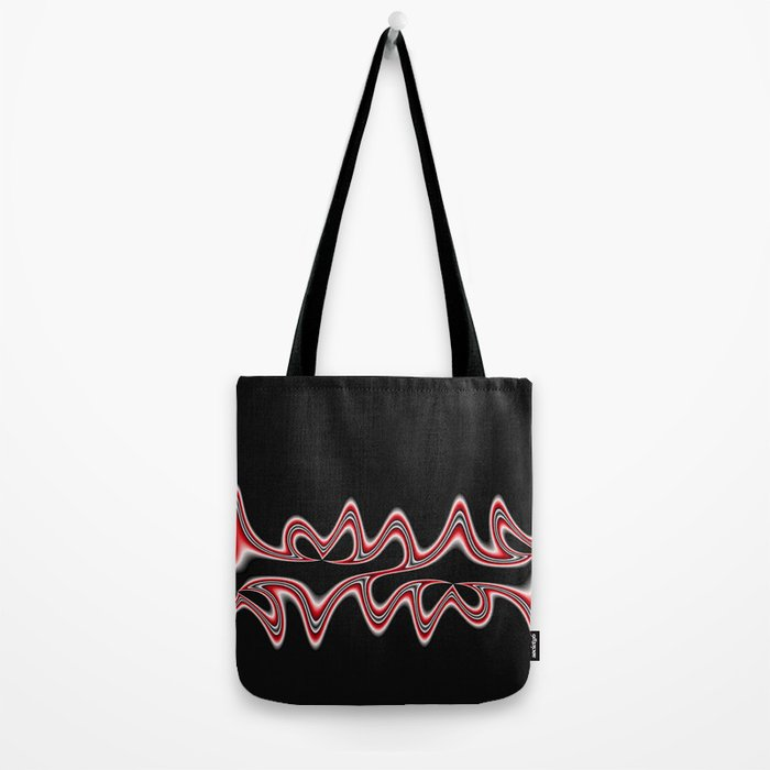Fractal Line Art in Red, White and Black Tote Bag