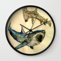 sharks Wall Clocks featuring Sharks by Jen Hallbrown