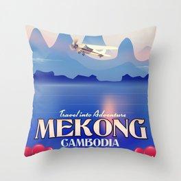 Mekong Cambodia vacation poster. Throw Pillow