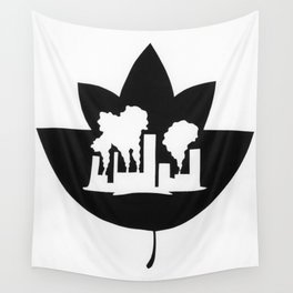Pollution through Negative Space in Leaf Wall Tapestry