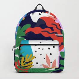 ABSTRACT TROPICAL JUNGLE AND TOUCAN BIRD PATTERN Backpack