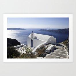 Greek Church In Santorini Art Print