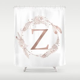 Letter Z Rose Gold Pink Initial Monogram Shower Curtain