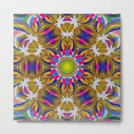 rainbow iris explosion mandala Metal Print