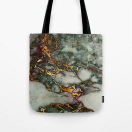 Gray Green Marble Glitter Gold Metallic Foil Style Tote Bag