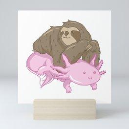 Cute Axolotl Sloth Water Aquarium Pet Animal Gift Mini Art Print