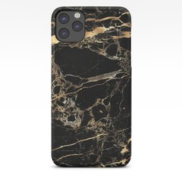 Marble, Black + Gold Veins iPhone Case