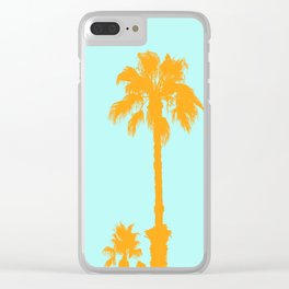 Orange palm trees silhouettes on blue Clear iPhone Case