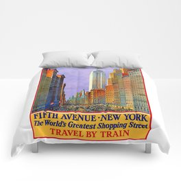 New York, vintage poster Comforters