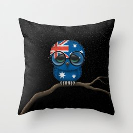 Baby Owl with Glasses and Australian Flag Throw Pillow
