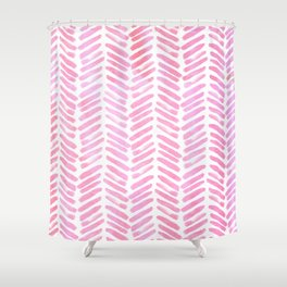 Handpainted Chevron pattern - pink and pink ;) Shower Curtain