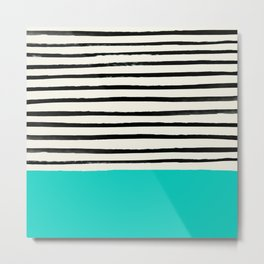 Aqua & Stripes Metal Print
