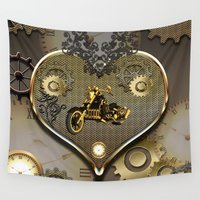 motorcycle Wall Tapestries featuring Steampunk, motorcycle  by nicky2342