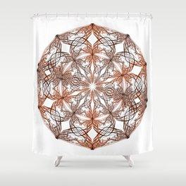 Mandala metal and orange Shower Curtain