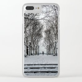 Snowy Walk Clear iPhone Case