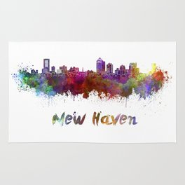 New Haven skyline in watercolor Rug