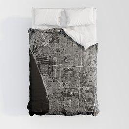 Los Angeles Black Map Comforters