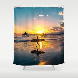 Surf City USA - Little Surfer Girl Shower Curtain