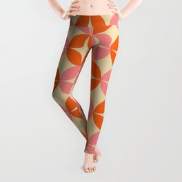 Mid Century Modern Pattern in Pink and Orange Leggings