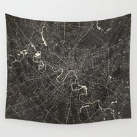 moscow Wall Tapestries featuring moscow map ink lines by NJ-Illustrations