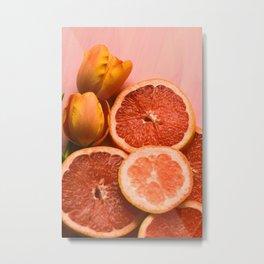 Citrus and Tulips Metal Print