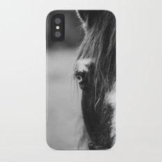Blue Eye - horse photography iPhone X Slim Case