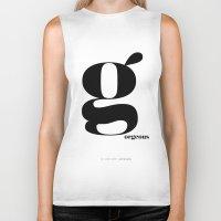 scandinavian Biker Tanks featuring Letter G, Gorgeous Scandinavian Design Typography by Nordic Print Studio