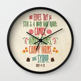 Buddy the Elf! The Four Main Food Groups Wall Clock