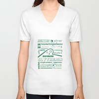 slytherin V-neck T-shirts featuring Slytherin by husavendaczek