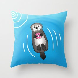 Sea Otter with Donut - Cute Otter Holding Doughnut Throw Pillow