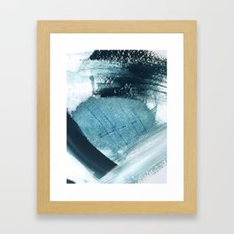 Pacific: a minimal abstract mixed media piece in blues and white Framed Art Print