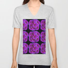 PURPLE HOLLYHOCK FLOWERS ON BLACK ABSTRACT Unisex V-Neck