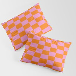 Warped perspective coloured checker board effect grid illustration orange and pink Pillow Sham