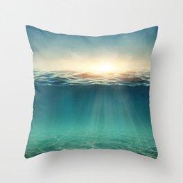 Breeze of the blue ocean Throw Pillow