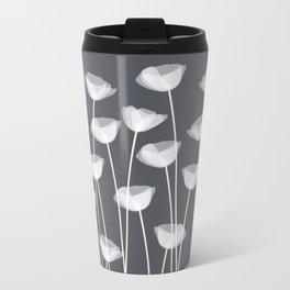 White Poppies Metal Travel Mug