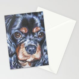 Beautiful black and tan Cavalier King Charles Spaniel Dog Painting by L.A.Shepard Stationery Cards