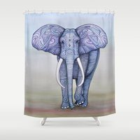 ornate elephant Shower Curtains featuring Ornate Elephant by Katelynn Clarey