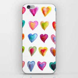 watercolour hearts colourful heart pattern iPhone Skin