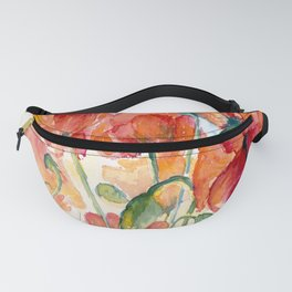 Tangerine Orange Poppy field WaterColor by CheyAnne Sexton Fanny Pack