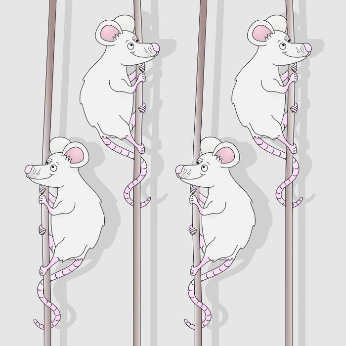 Cute Grey Cartoon Mouse Duvet Cover