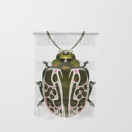 Green, White, Pink Beetle Wall Hanging