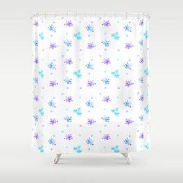 Watercolor Floral Print (blue + violet) Shower Curtain